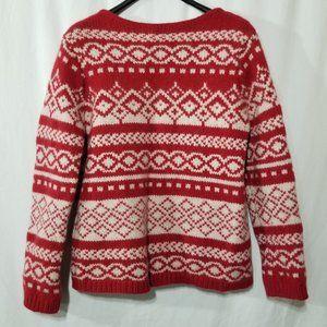 Eddie Bauer wool angora chunky red & white sweater